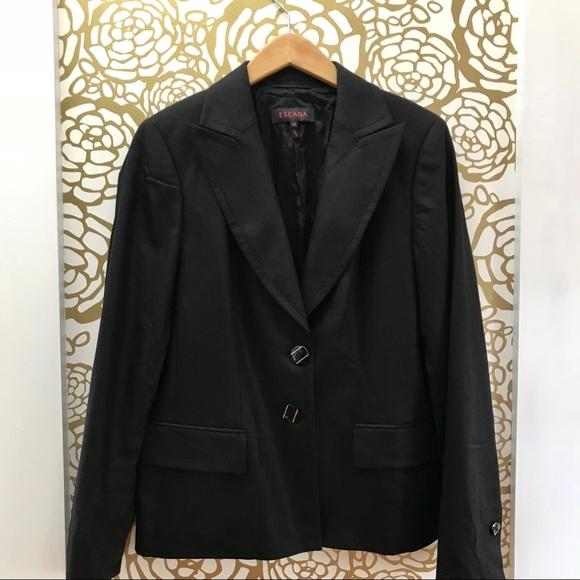 Escada Jackets & Blazers - Escada Classic Black Wool Blend Blazer
